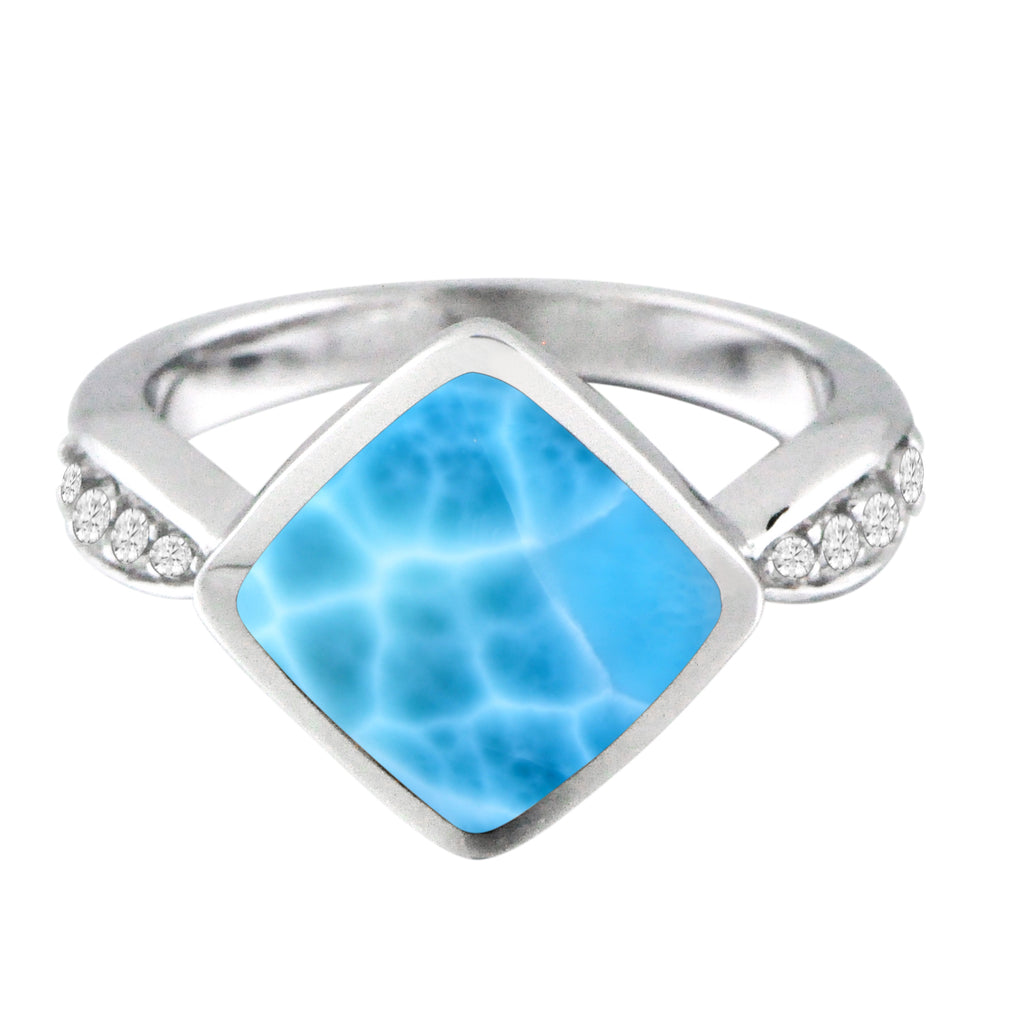 Larimar and Cubic Zirconia Ring