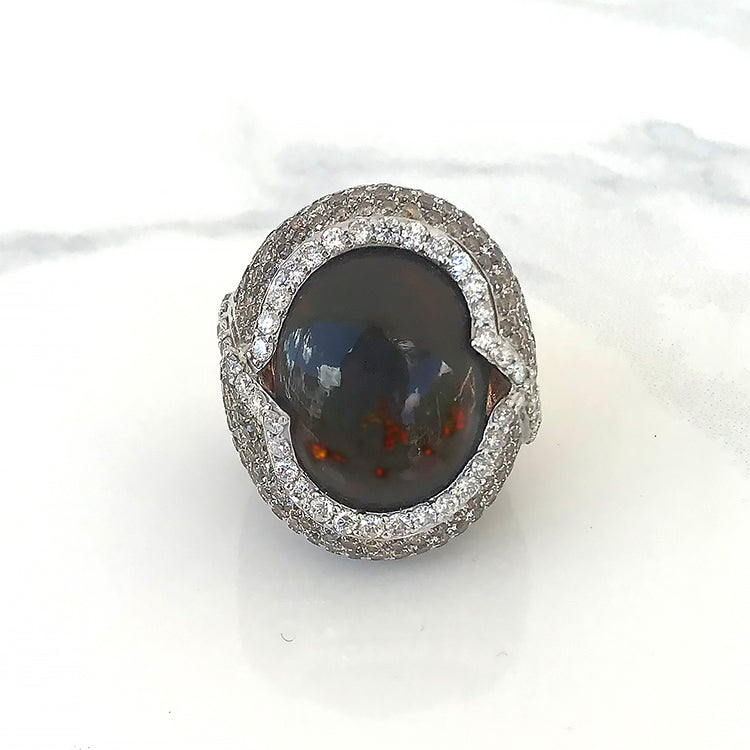 Chocolate Red Opal Ring with Champagne Diamonds