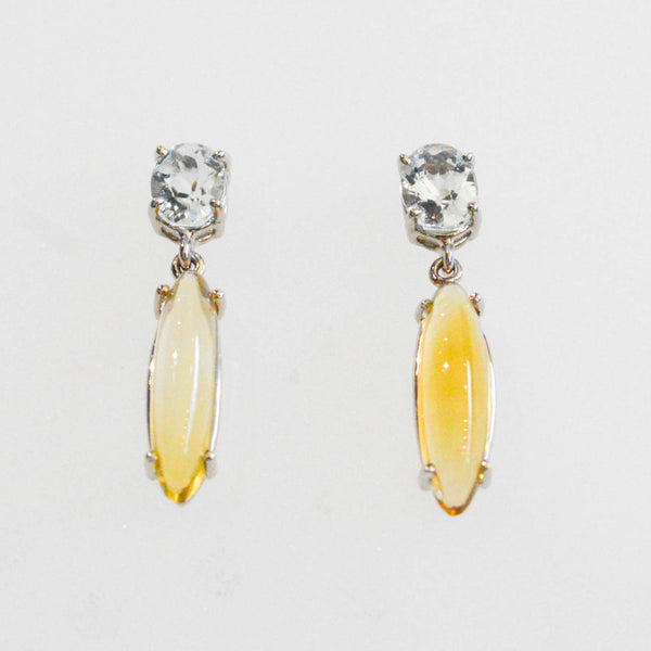 Aquamarine and Citrine Earrings