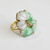 White and Green Jade Flower Ring