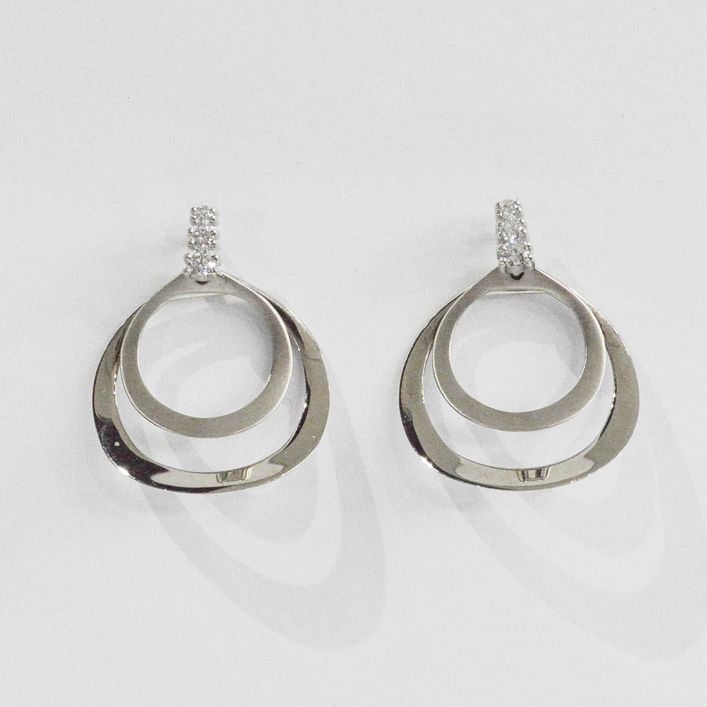 Double Circle and Diamond Earrings
