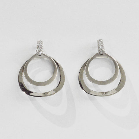 Double Circle and Diamond Earrings - Kristoff Jewelers