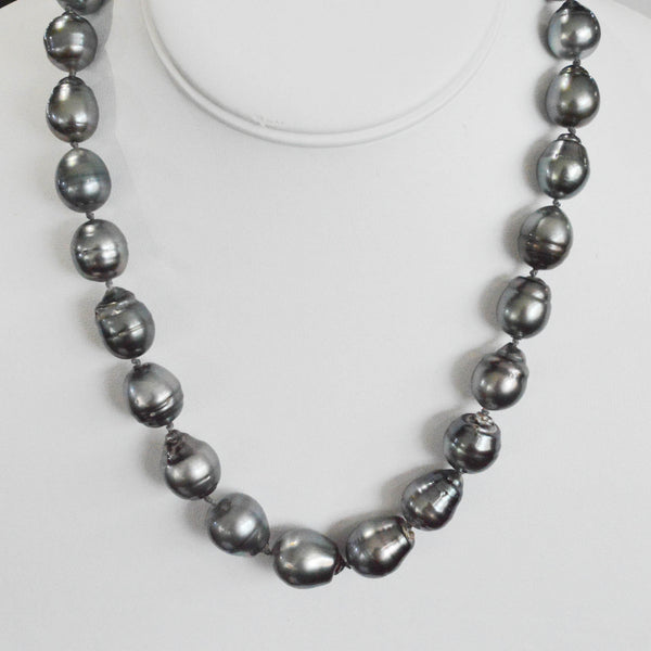 Grey-Black Tahitian Baroque Pearl Necklace