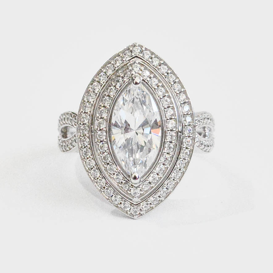 Custom Double Halo Marquise Engagement Ring