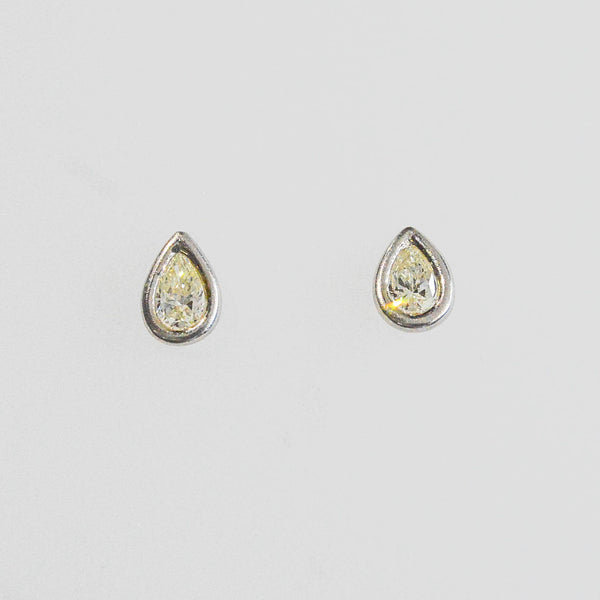 Bezel Set Pear Stud Earrings