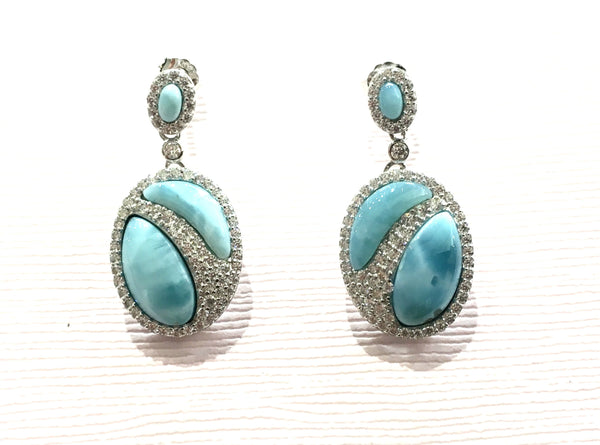 Larimar Oval Drop Earrings - Kristoff Jewelers