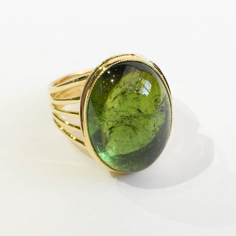 Handmade Green Tourmaline Cabochon Ring