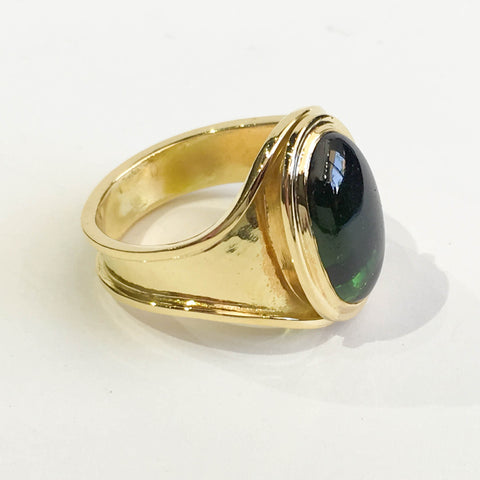Vintage Green Tourmaline Cabochon Ring