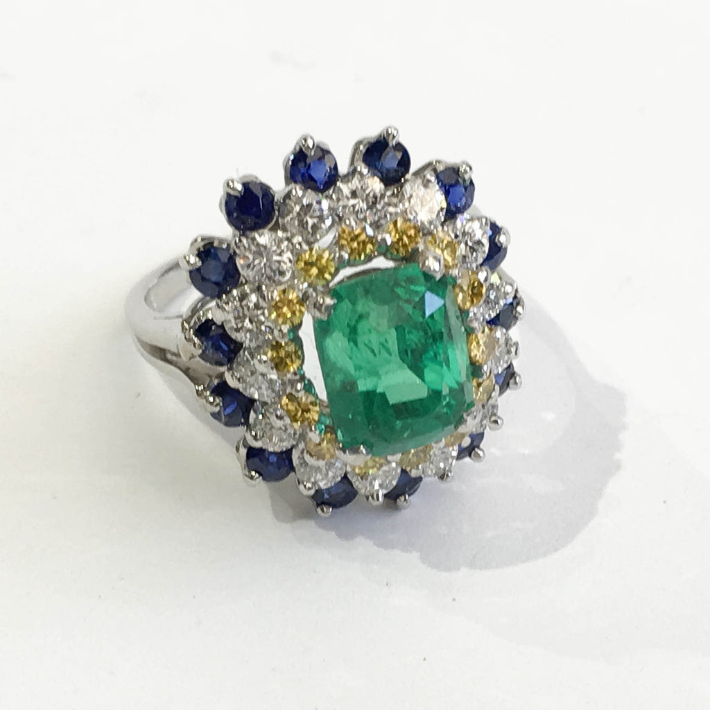 Vintage Emerald, Diamond and Sapphire Ring