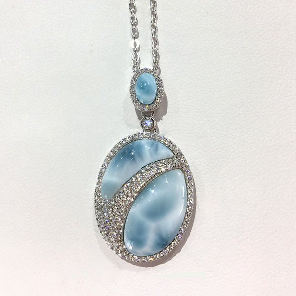 Oval Larimar Pendant in Sterling Silver