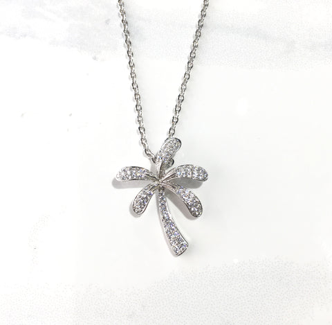 Sterling Silver Cubic Zirconia Palm Tree