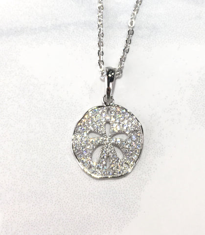 Sterling Silver and Cubic Zirconia Bling Sand Dollar