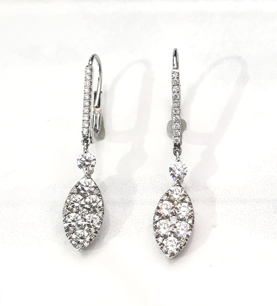 Marquise Shaped Diamond Drop Earrings