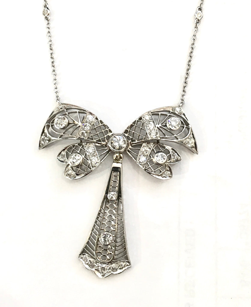 Vintage Diamond Bow Necklace