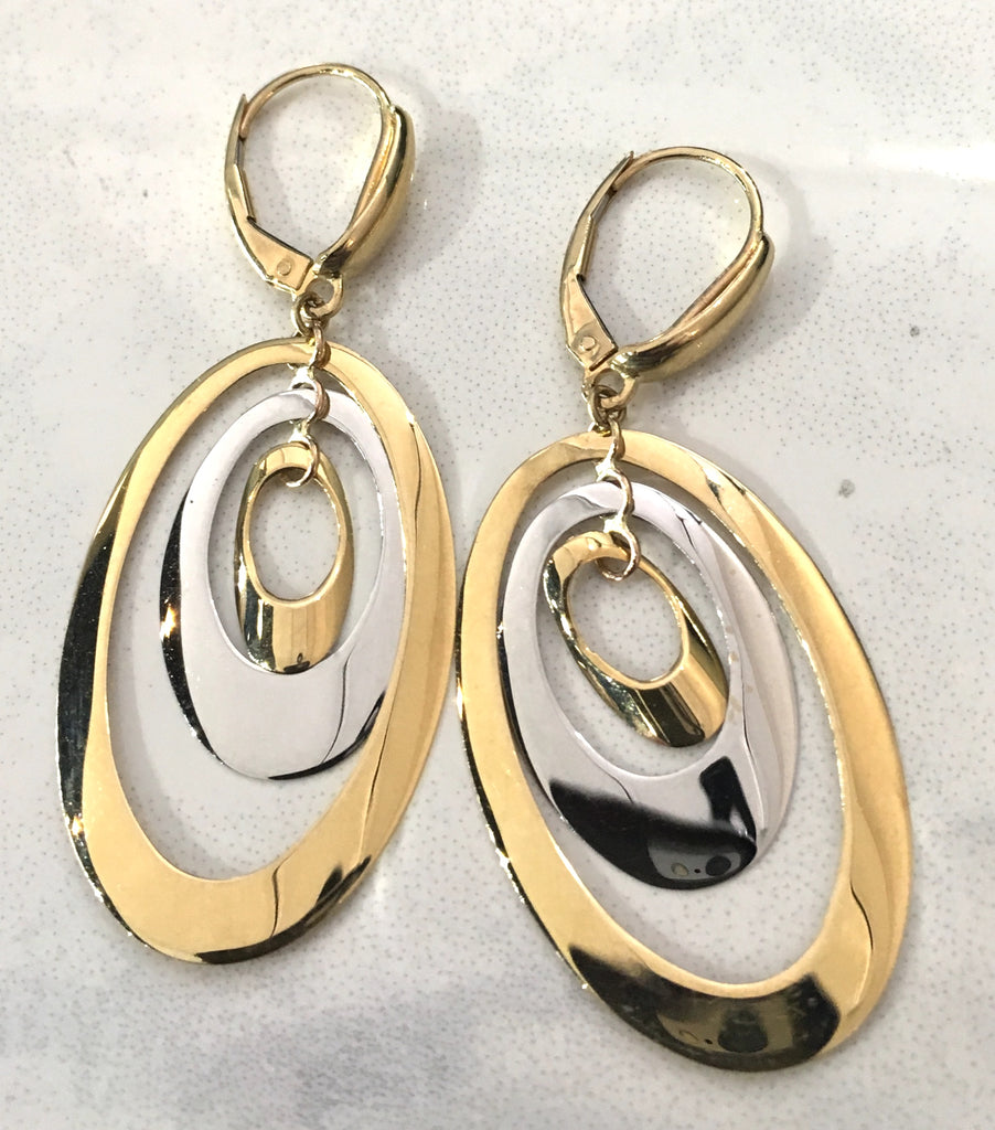 Triple Oval Gold Earrings