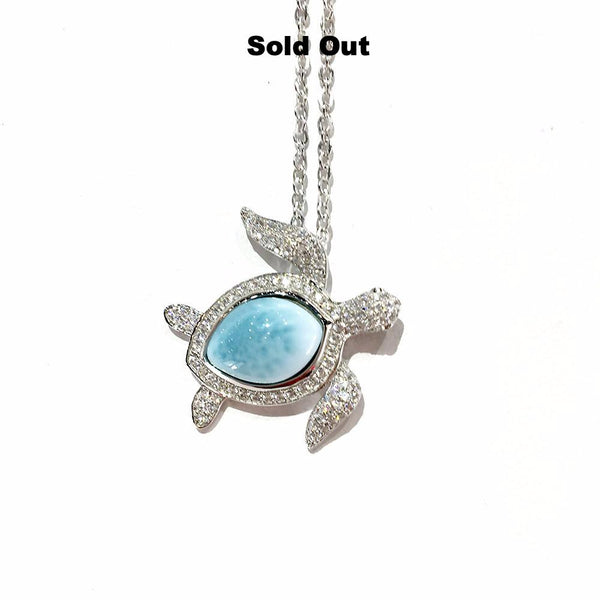 Larimar and Sterling Silver Sea Turtle Necklace