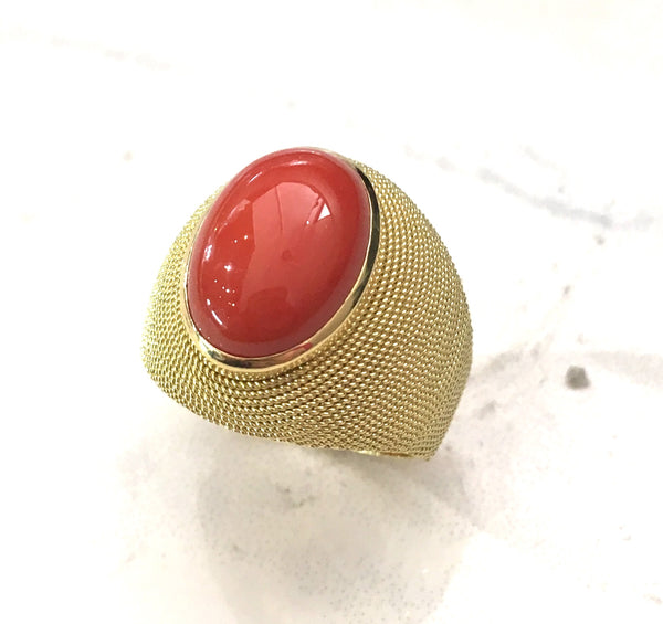 Italian Gold and Coral Ring