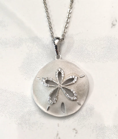 Large Sand Dollar Necklace with Cubic Zirconia