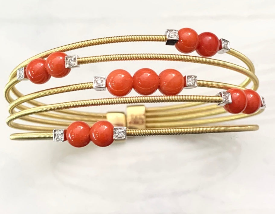Italian Handmade Coral and Diamond Bracelet
