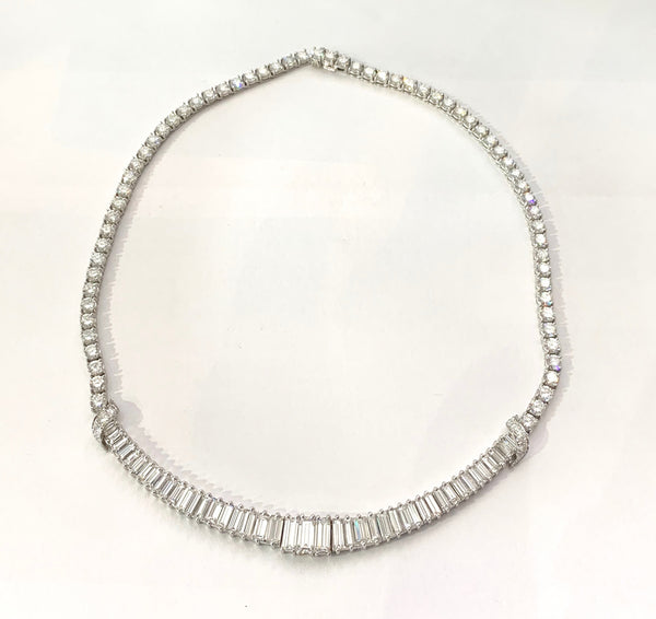 Vintage Emerald Cut and Round Diamond Necklace