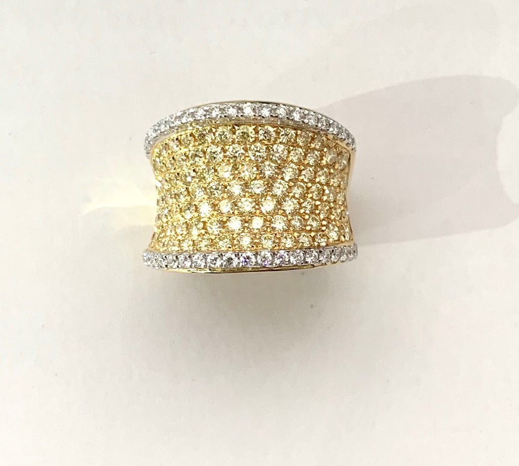 Fancy Yellow and White Diamond Band