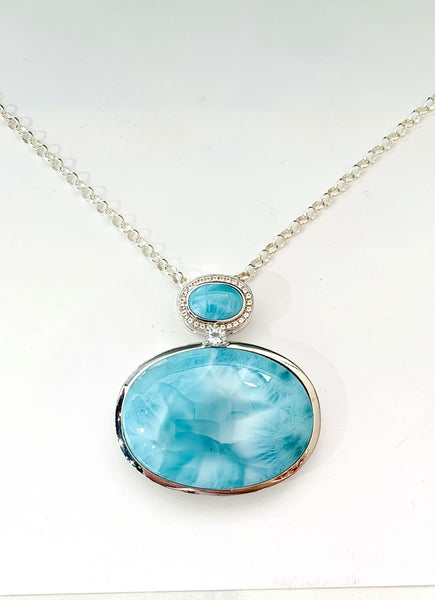 Large Oval Larimar Necklace