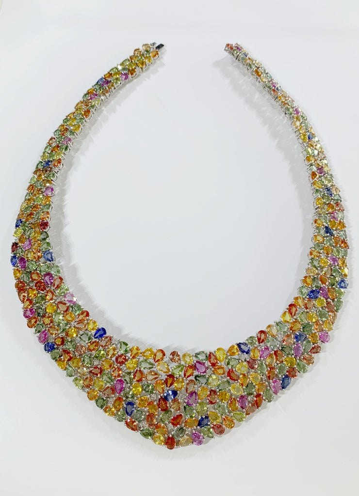 Multi Colored Sapphire and Diamond Necklace