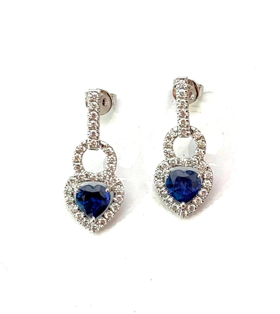 Heart Shaped Blue Sapphires and Diamond Earrings
