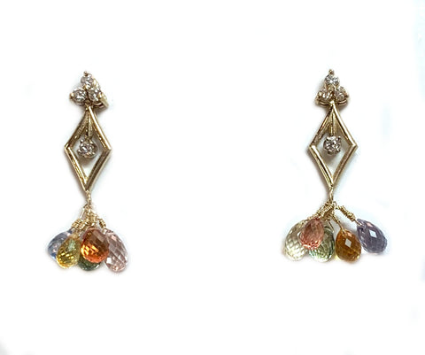 Custom Diamond and Multi Colored Sapphire Earrings