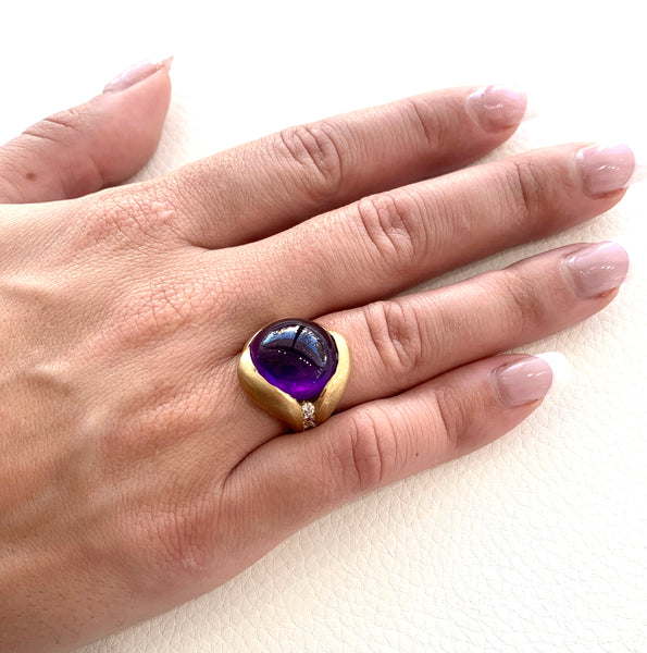 Custom Amethyst and Diamond Ring