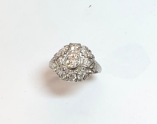 Vintage Platinum Diamond Ring  Circa 1930