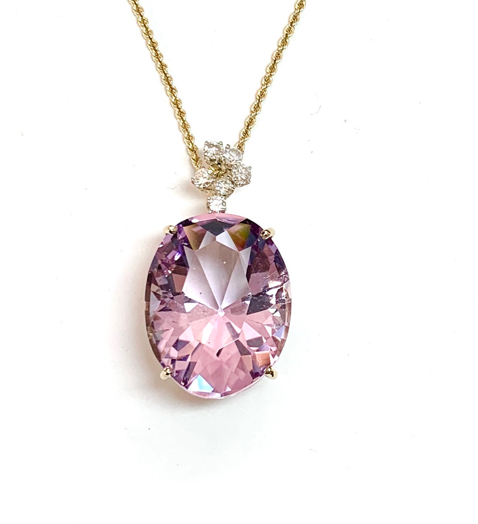 Large Rose Amethyst and DIamond Necklace