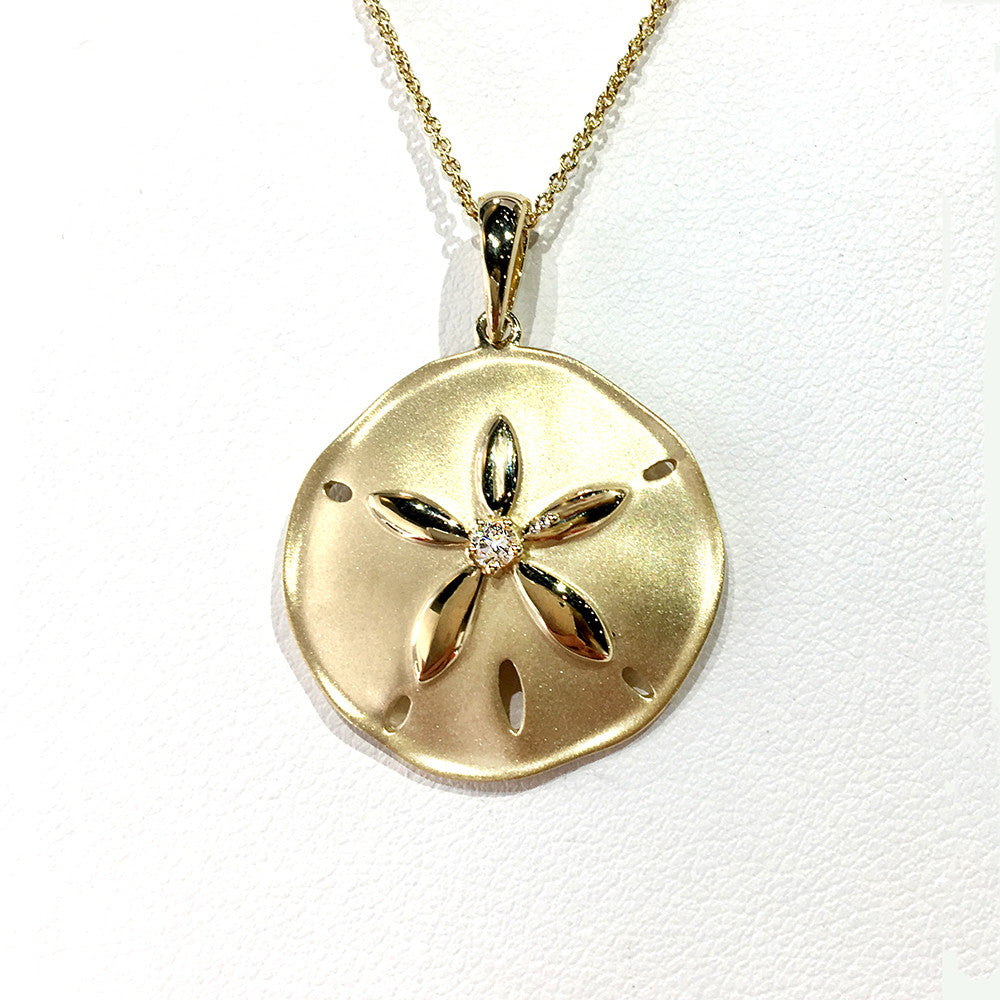 Yellow Gold and Diamond Sand Dollar Pendant - Kristoff Jewelers