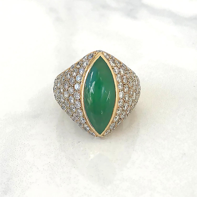 Marquise Jade and Diamond Ring