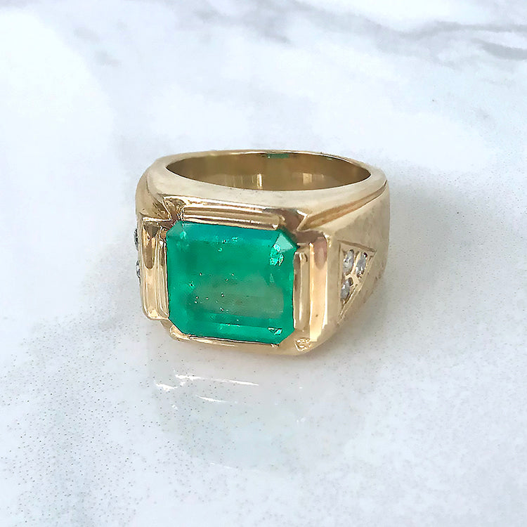 Custom Men's Colombian Emerald Ring