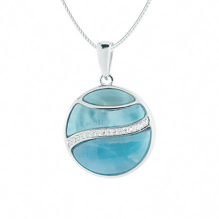 Round Larimar Pendant in Sterling Silver