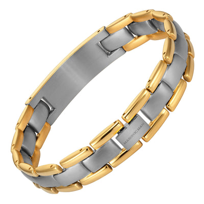 MasonicMan Two Tone Titanium Bracelet with Square and Compass