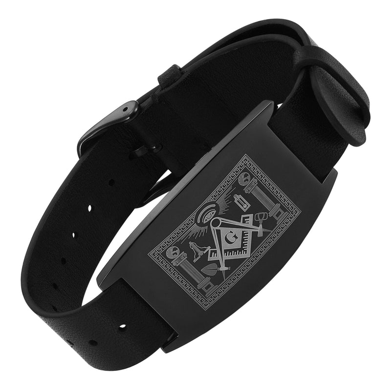 MasonicMan Leather Freemasonry Masonic Bracelet with Working Tools Design in Gift Box …