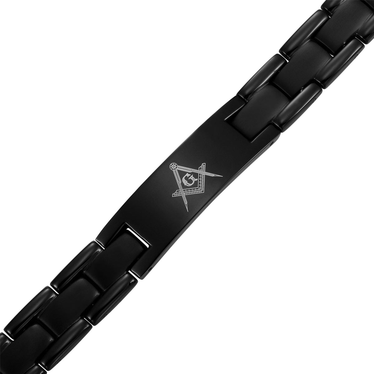 MasonicMan Black Titanium Bracelet with Square and Compass