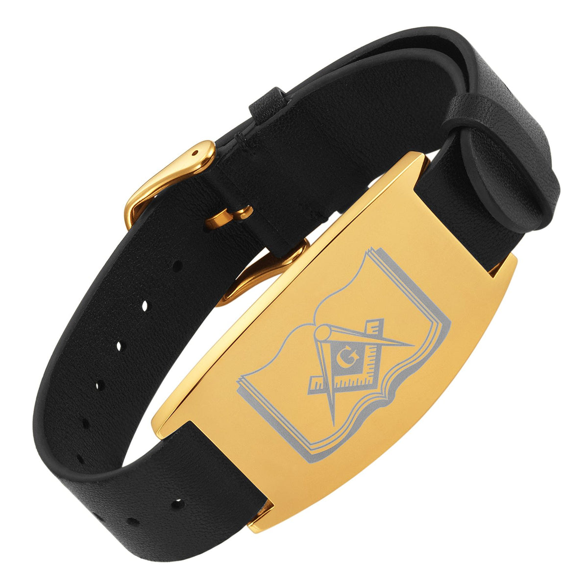 MasonicMan Leather Freemasonry Masonic Bracelet with Square and Compass on Bible in Gift Box …