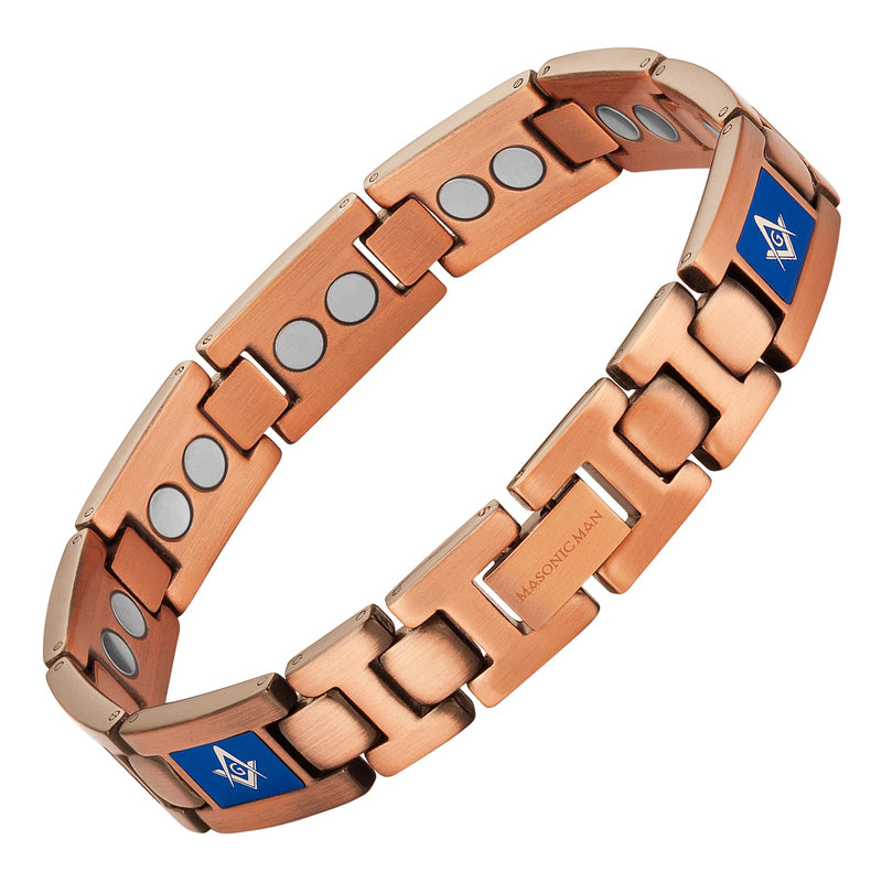 Masonic Pure Copper Link Bracelet with Adjusting Tool (BLUE)