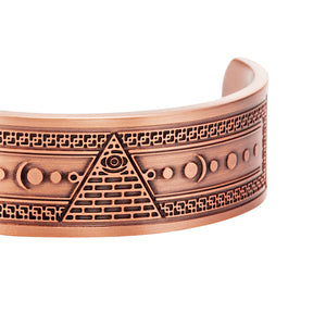 MasonicMan Engraved Pure Copper Bangle Bracelet