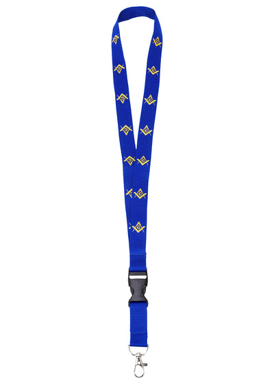 MasonicMan Blue Lanyard with Square and Compass and Clasp