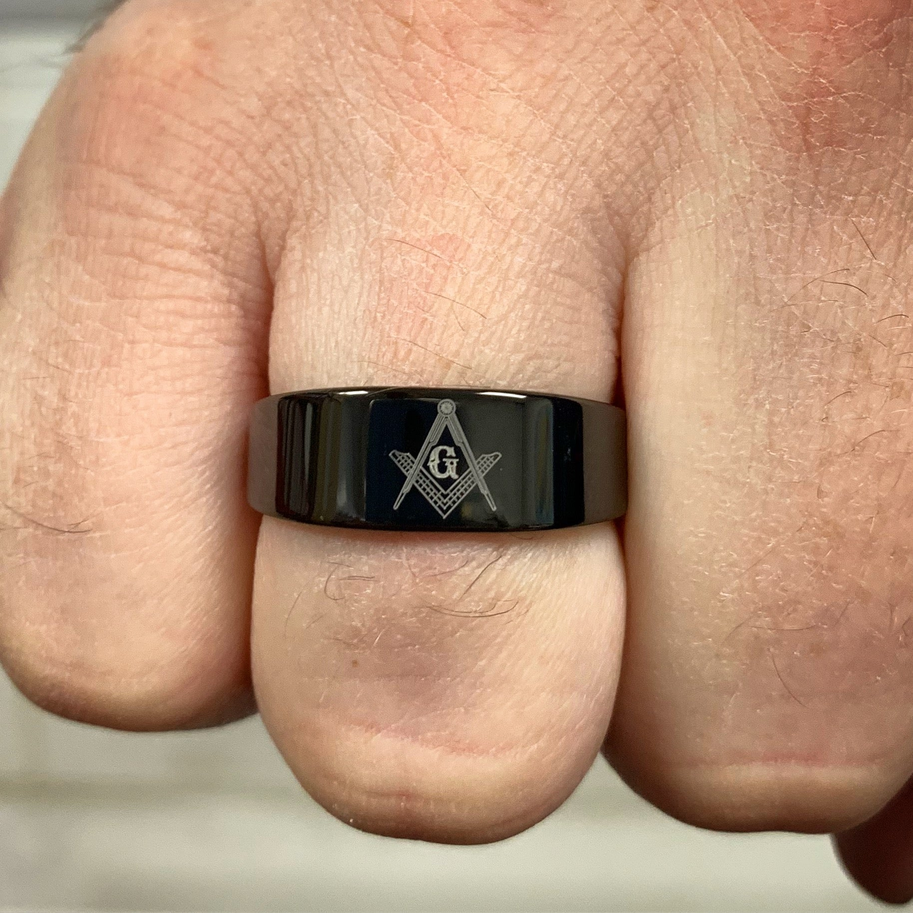 Black Tungsten Ring Engraved with Square and Compass