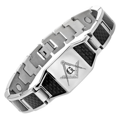 MasonicMan Titanium Masonic Bracelet with Black Carbon Fiber