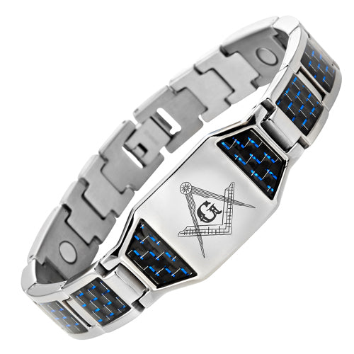 MasonicMan Titanium Magnetic Masonic Bracelet with Blue Carbon Fiber