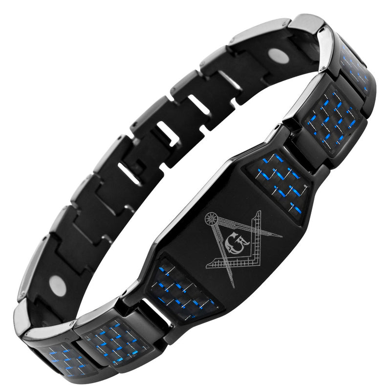 MasonicMan Black Titanium Masonic Magnetic Bracelet with Blue Carbon Fiber