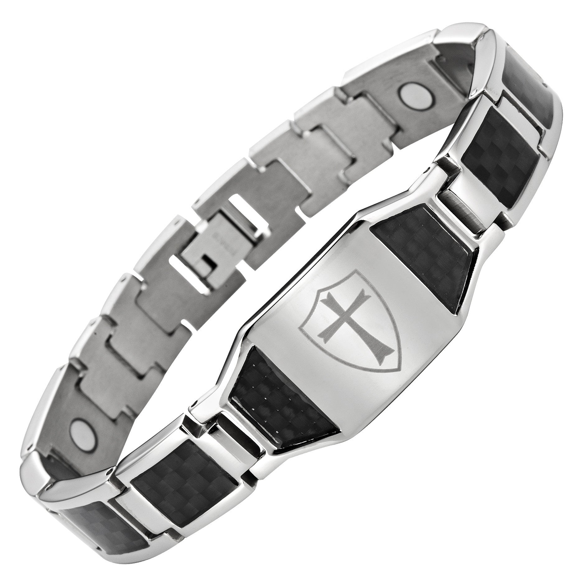 Titanium Magnetic Bracelet With Knights Templar Cross Shield Gift Box