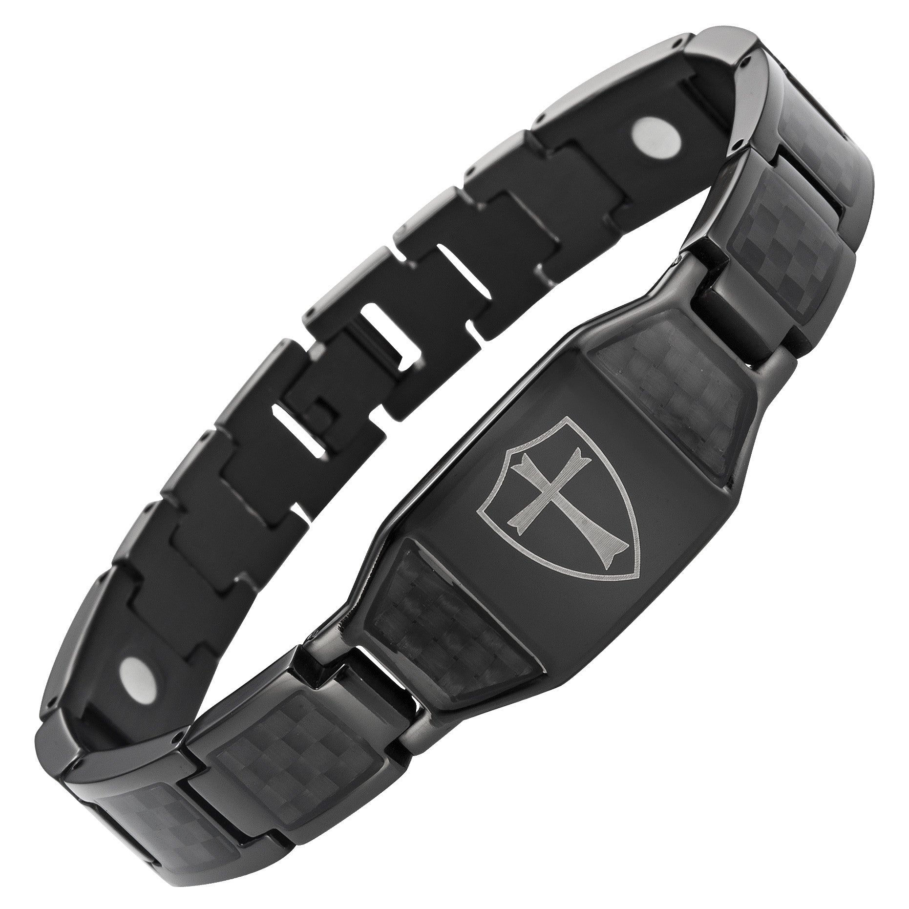 Black Titanium Bracelet with Black Carbon Fiber Knights Templar Cross Shield