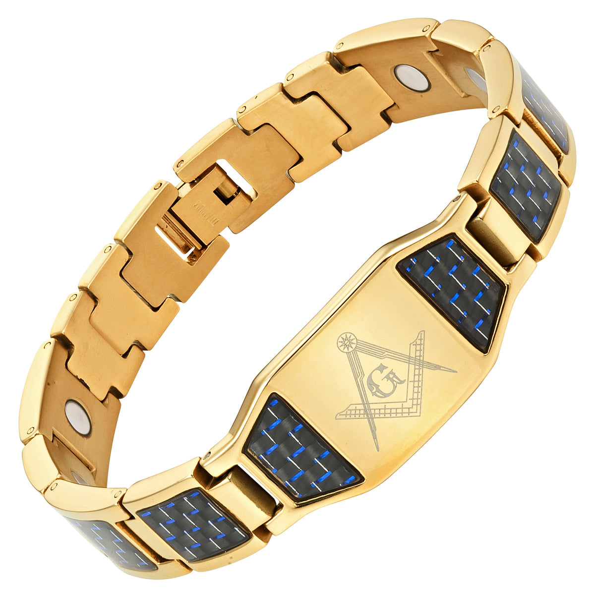 MasonicMan Gold Titanium Masonic Bracelet with Blue Carbon Fiber